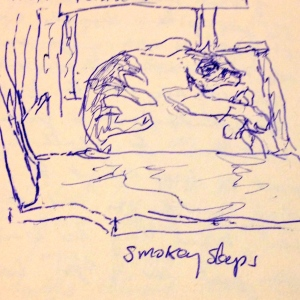 Smokey sleeps. from my journals. Art Project #52. Alexandra Hanson-Harding.
